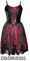 Dark Star Satin Velvet Black & Red Gothic Lolita Dress
