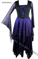 Dark Star Gothic Purple Bellsleeve Lace Cobweb Long Black & Purple Dress