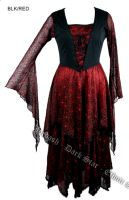 Dark Star Gothic Red Bellsleeve Lace Cobweb Long Black & Red Dress