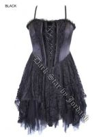 Dark Star Black Satin Velvet Lace Gothic Mini Dress
