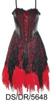 Dark Star Black and Red Satin Velvet Lace Gothic Mini Dress