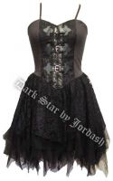Dark Star Black Satin Lace PVC Gothic Mini Dress