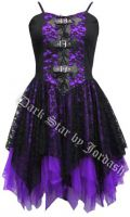 Dark Star Black and Purple Satin Lace PVC Gothic Mini Dress