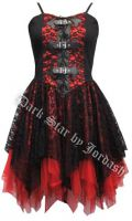 Dark Star Black and Red Satin Lace PVC Gothic Mini Dress