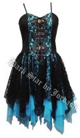 Dark Star Black and Blue Satin Lace PVC Gothic Mini Dress