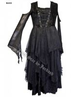 Dark Star Black Velvet Embroidered Sequin Open Shoulder Corset Gothic Dress Gown