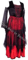 Dark Star Red & Black Velvet Embroidered Sequin Open Shoulder Corset Gothic Dress Gown