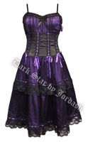 Dark Star Purple Black Satin Lace Burlesque Dress