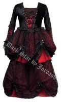 Dark Star Black Lace & Red Velvet Romantic Gothic Fairy Dress