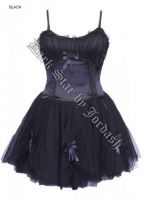 Dark Star Black Satin Lace Ribbon Petticoat Burlesque Dress