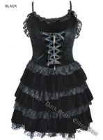 Dark Star Black Velvet Lace Tiered Corset Gothic Dress