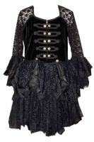 Dark Star Black Lace Velvet & Satin Gothic Steampunk Dress