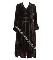 Dark Star Long Black Crushed Velvet Gothic Coat with Red Lining