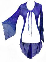 Dark Star Blue & Purple Tie Dye Gothic FishNet Hooded Long Jacket