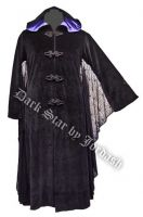Dark Star Black and Purple Hooded Velvet Coat w Spiderweb Bat Wings