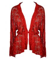 Dark Star Red Lace Gothic Duster Jacket w Frog Fastening