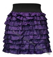 Dark Star Purple Layered Ruffled Gothic Short Mini Skirt