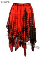 Dark Star Gothic Black and Red Tie Dye Sequin Embroidery Multi Tier Witchy Hem Skirt