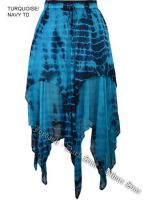 Dark Star Gothic Turquoise & Navy Tie Dye Georgette Multi Tier Witchy Hem Skirt