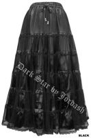 Dark Star Satin and Black Mesh Long Gothic Skirt