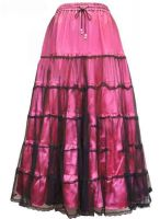 Dark Star Satin Black & Dark Pink Mesh Long Gothic Skirt