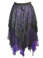 Dark Star Gothic Black and Purple Lace Satin Net Multi Tier Witchy Hem Skirt
