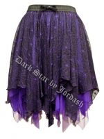 Dark Star Black and Purple Spiderweb Lace Layered Gothic Short Skirt