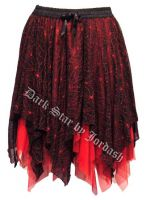 Dark Star Black and Red Spiderweb Lace Layered Gothic Short Skirt