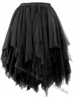 Dark Star Gothic Short Black Lace Net Multi Tier Witchy Hem Mini Skirt