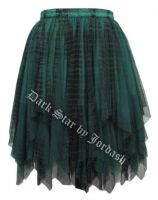 Dark Star Gothic Short Black & Green Lace Net Multi Tier Witchy Hem Mini Skirt