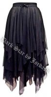 Dark Star Gothic Black Lace Net Multi Tier Witchy Hem Skirt