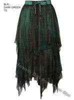Dark Star Gothic Black and Green Dark Lace Net Multi Tier Witchy Hem Skirt
