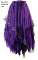 Dark Star Gothic Black and Purple Lace Net Multi Tier Witchy Hem Skirt