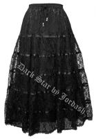 Dark Star Black Satin Lace Tiered Gothic Skirt