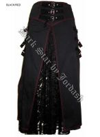 Dark Star Gothic Black and Red Stitch Buckle Lace Skirt