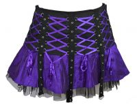 Dark Star Purple & Black Gothic Punk Mini Corset Skirt