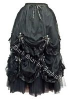 Dark Star Long Black Satin Roses Gothic Fairytale Skirt
