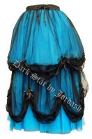 Dark Star Long Blue and Black Satin Roses Gothic Fairytale Skirt