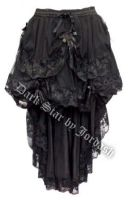 Dark Star Black Gothic Satin Roses Lace Hi Low Skirt