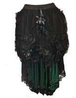 Dark Star Black & Green Gothic Satin Roses Lace Hi Low Skirt