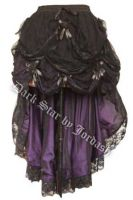 Dark Star Black & Purple Gothic Satin Roses Lace Hi Low Skirt