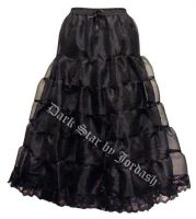 Dark Star Long Gothic Black Satin Mesh Tiered Skirt