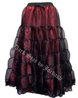 Dark Star Long Gothic Black and Red Satin Mesh Tiered Skirt