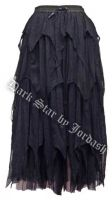 Dark Star Gothic Black Cobweb Lace Spiderweb Multi Tier Long Skirt