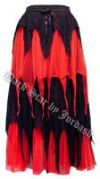Dark Star Gothic Black & Red Cobweb Lace Spiderweb Multi Tier Long Skirt