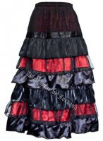Dark Star Black and Red Cobweb Satin Lace Ruflle Tiered Gothic Skirt