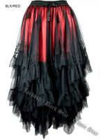 Dark Star Long Black and Red Mesh Embroidered Layered Gothic Skirt