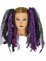 Eggplant Purple and Black Gothic Ribbon Hair Falls by Dreadful Falls