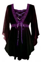 Plus Size Bewitched Corset Top in Black with Purple Trim