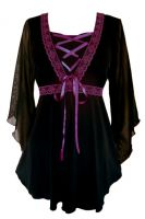 Plus Size Bewitched Corset Top in Black with Burgundy Trim